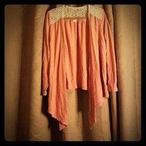 Tops - Coral lace cardigan
